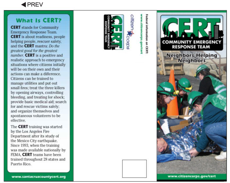 Cert team neighborhood and community pamphlets for Sample pamphlets