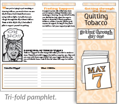 Quitting Tobacco: Getting Through Day One tri-fold pamphlet