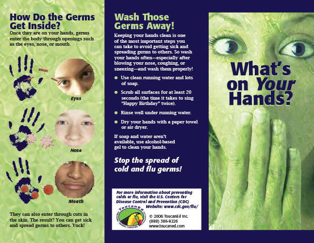 whats on your hands tri fold pamphlet view sample