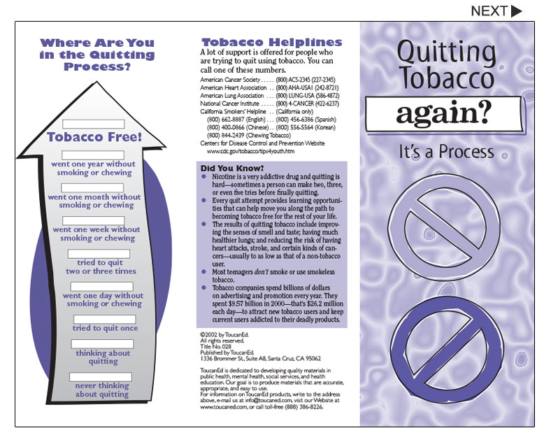 Tobacco Cessation Pamphlets