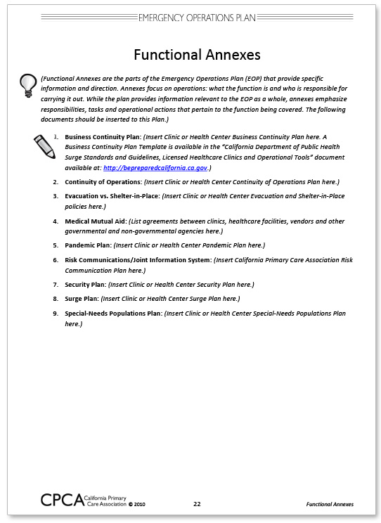 California Primary Care Association Community Clinic And Health - Business emergency plan template